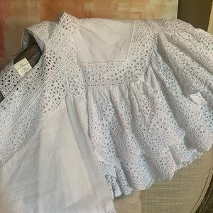 White eyelet two piece skirt and top